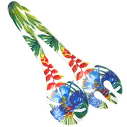 Salad servers in melamine - Tropical Birds.
