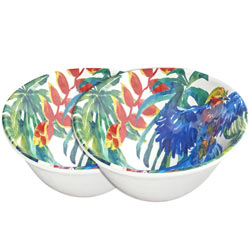 Bowl in melamine - Tropical Birds. 2 pieces