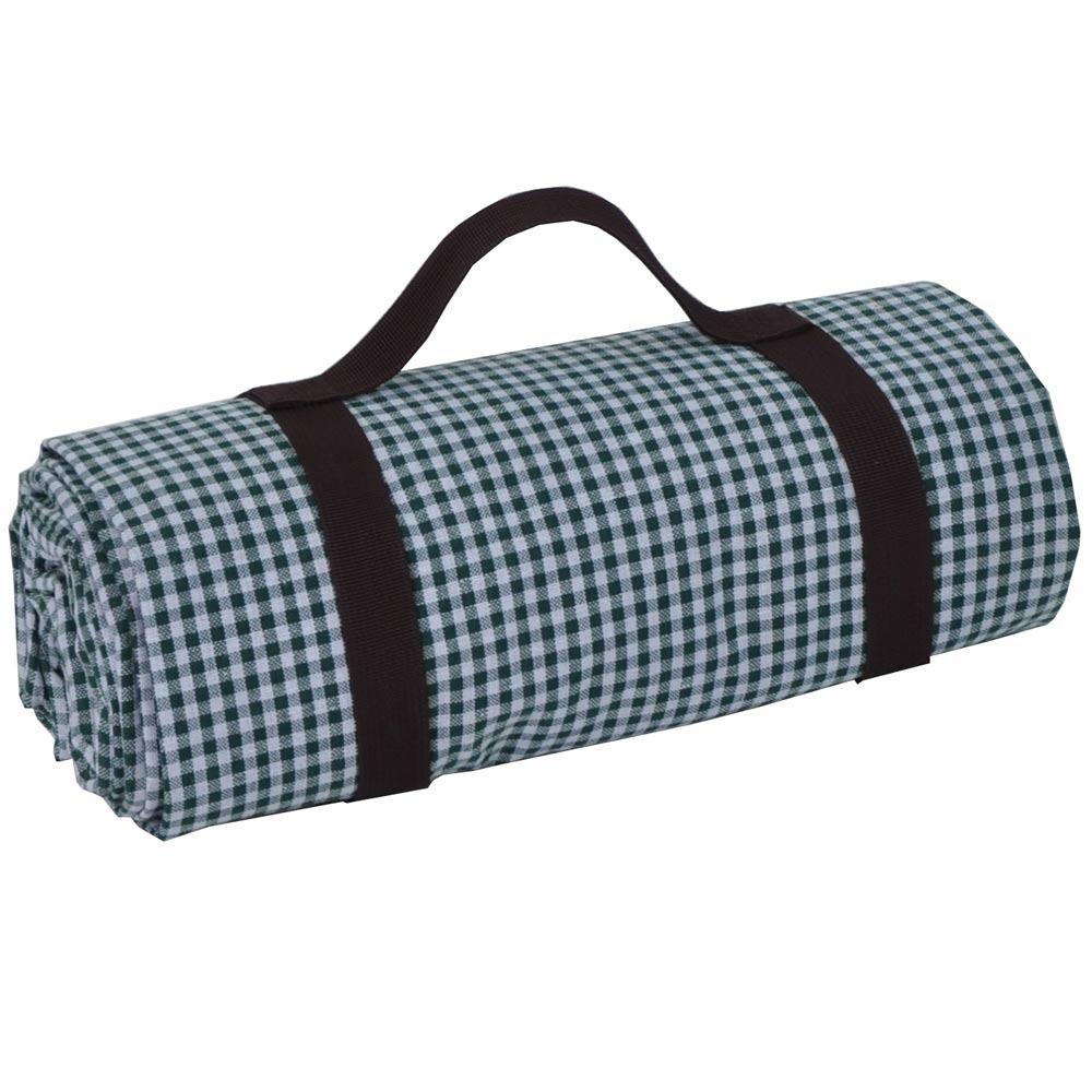 xxl picknickdecke mit gr nem karomuster und. Black Bedroom Furniture Sets. Home Design Ideas